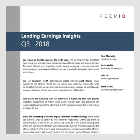 Lending Earnings Insights (2018 Q3) – PeerIQ