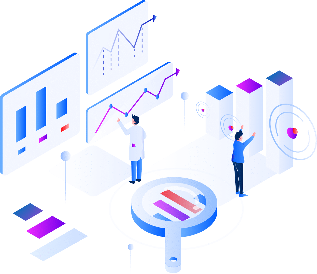 two people looking analytics